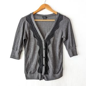 RUE 21 v-neck cardigan Gray with black lace trim